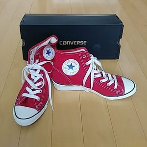 Converse All Star Wedge Hi Red NWT